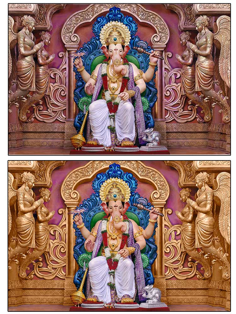 Colour correction of Ganapati Photograph