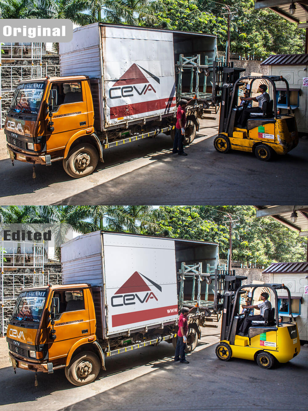 Fork lift and truck photograph Editing