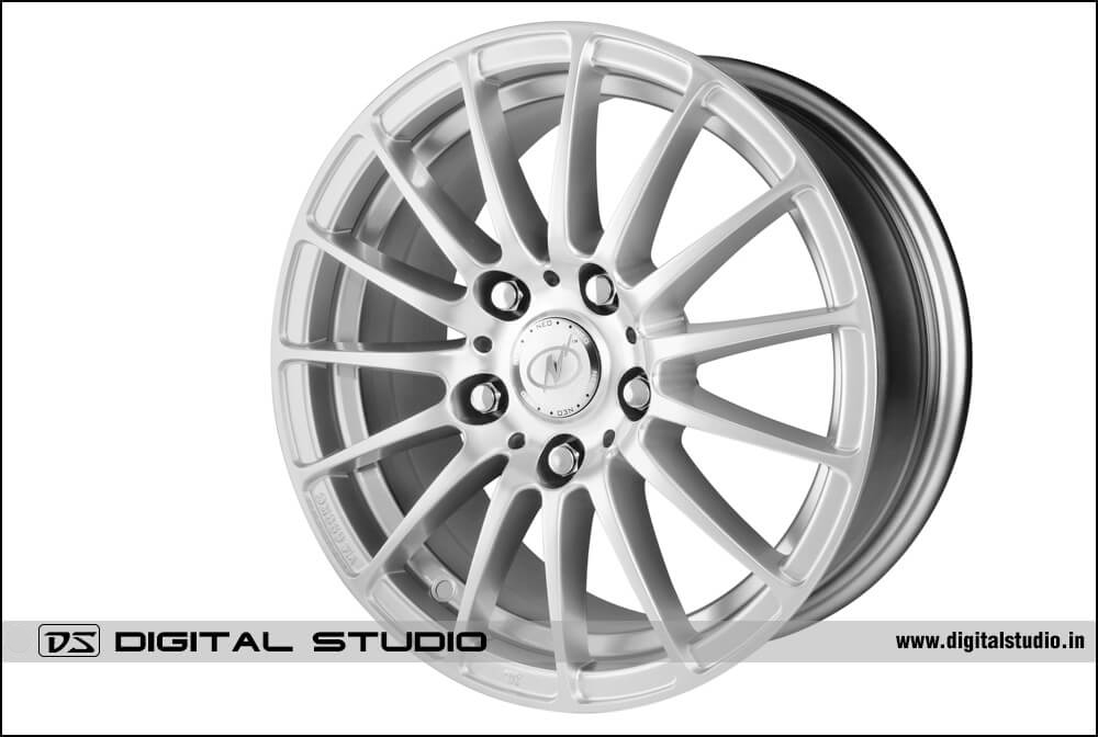 Photograph of high quality alloy wheel