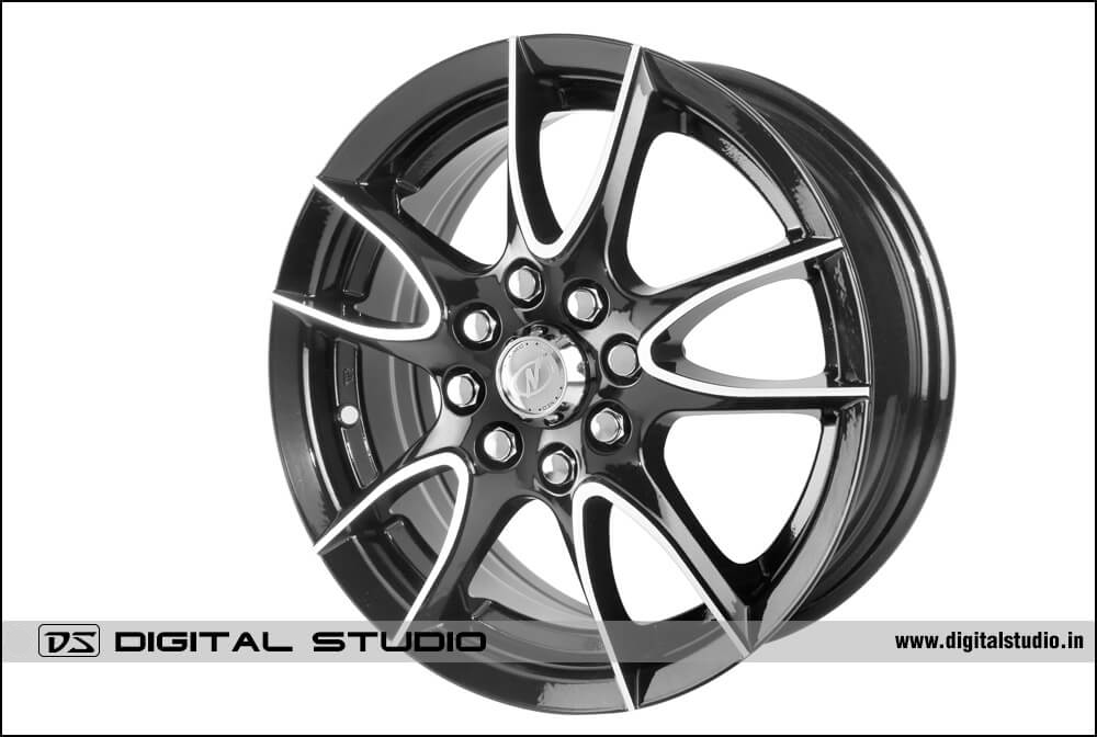 Photograph alloy wheel with steel finish