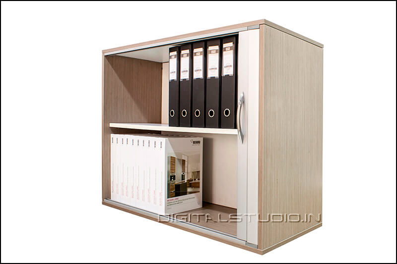 Side angle of a cabinet with files