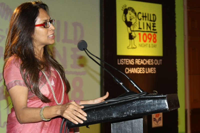 Executive Director of CHILDLINE at an event in Mumbai