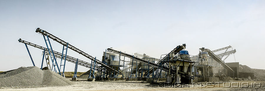 photograph of stone crushing machines
