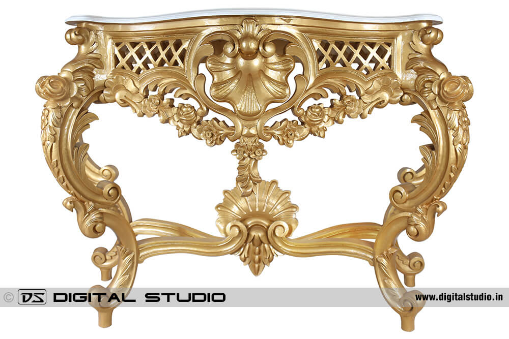 Gold platted console table with carving