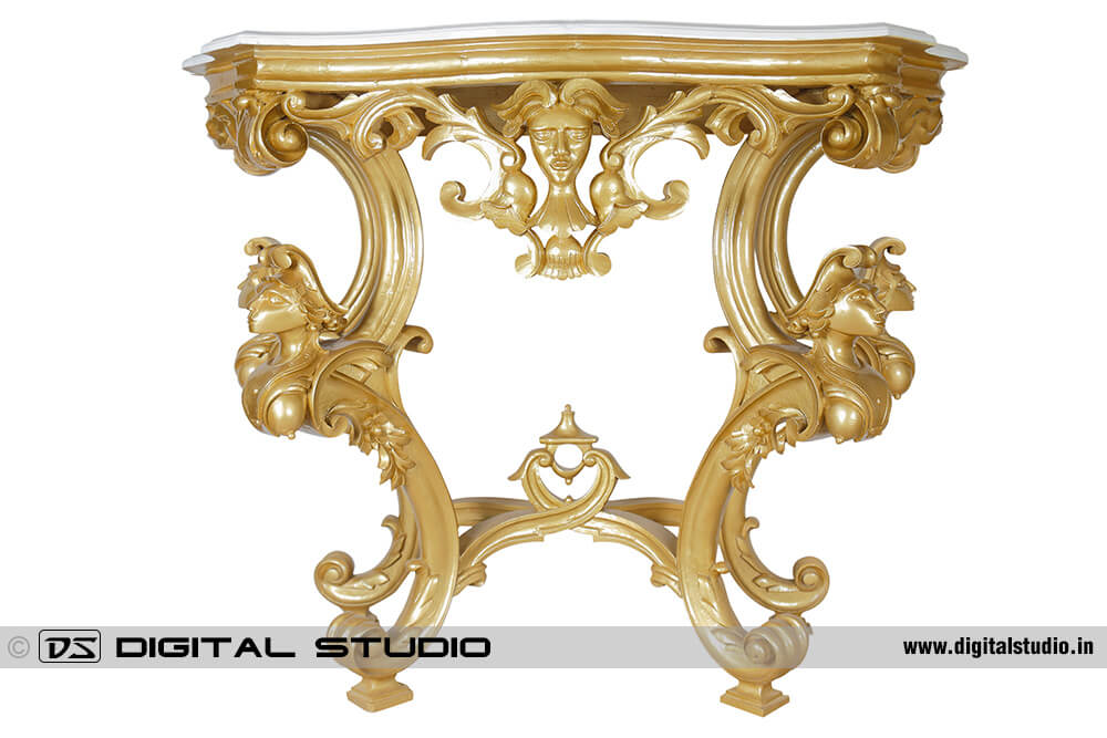 Golden plating console table