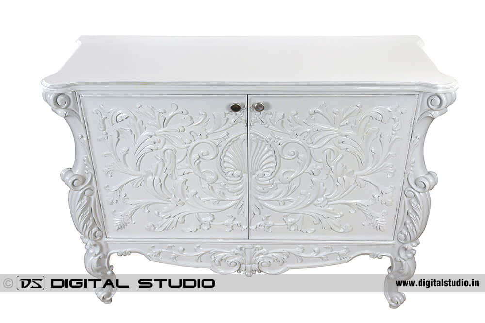 White console table with shelves