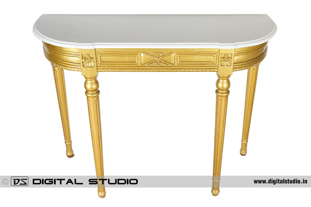 White top Golden console table