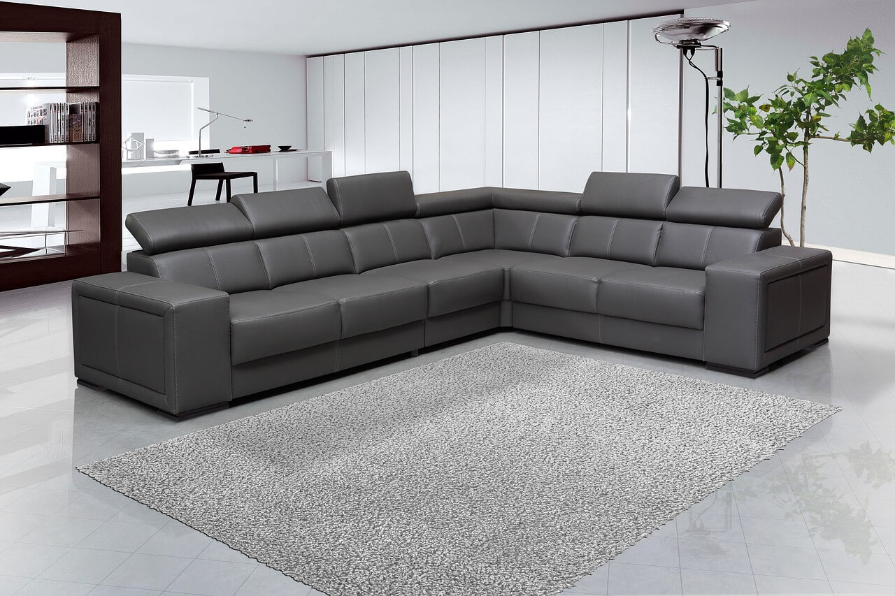 Large sofa in a spacious living room
