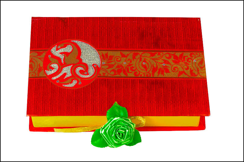 Closed gift box with decoration