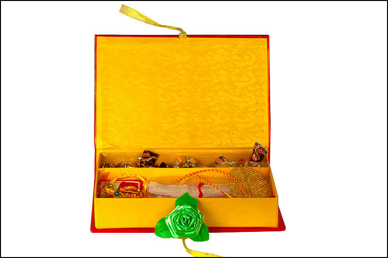 Open Rakhi gift box with other items