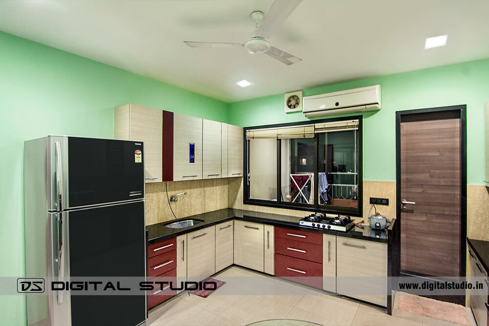 Kitchen with complete set of appliances and cooking platform