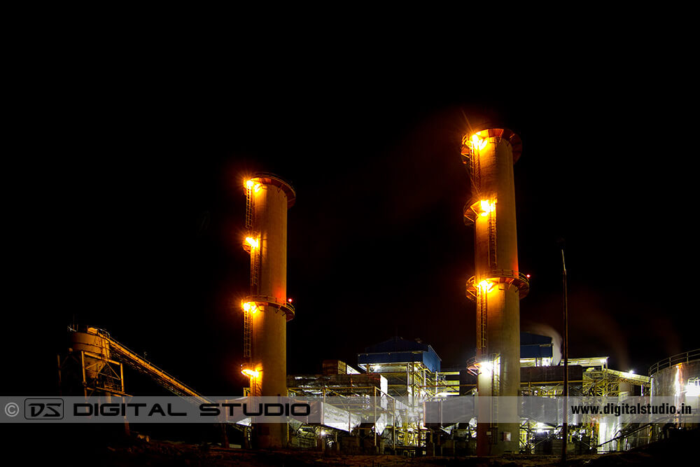Night photograph of sugar factory at Ethiopia