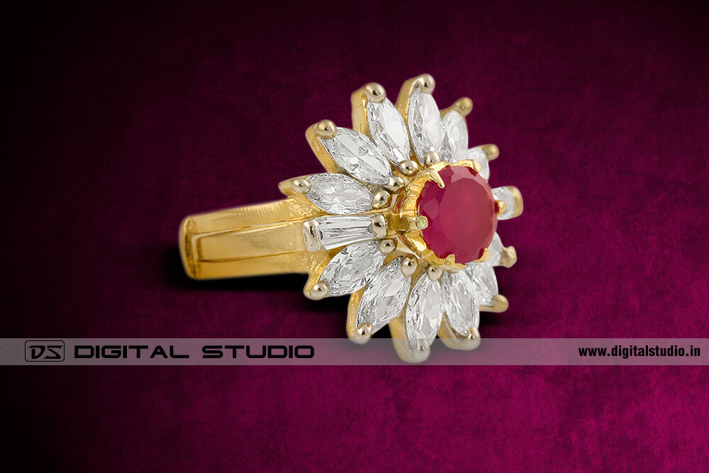 diamonds ring with ruby