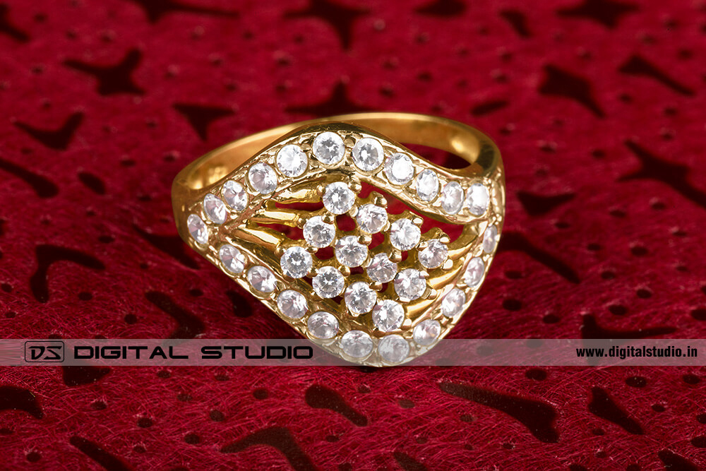 diamonds ring on red background