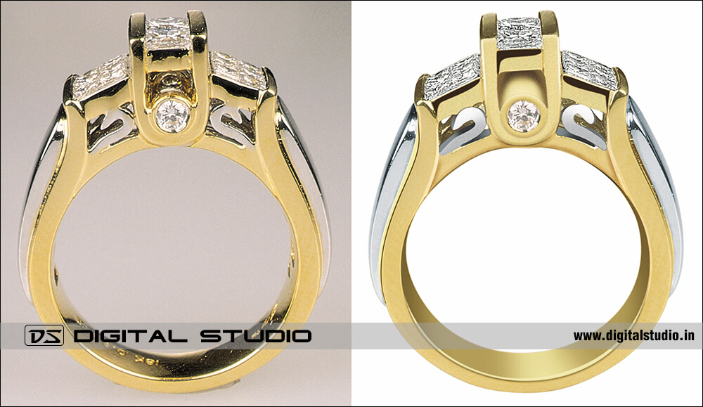 before and after high level editing of diamond ring for perfect final output for catalog
