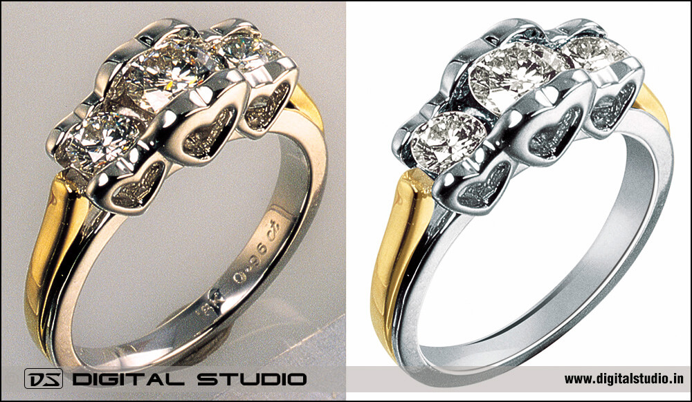 high level photoshop editing for perfect diamond ring image