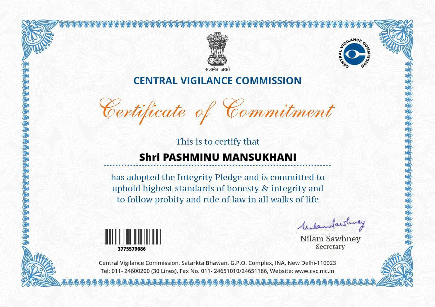Commitment Certificatefrom Government of India