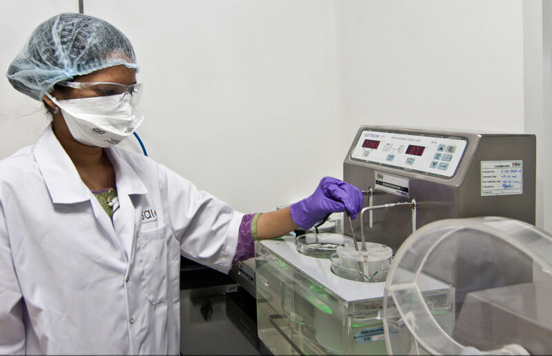 Technician working in a quality control of a pharma company