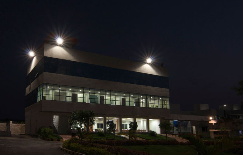 night photograph of pharma plant