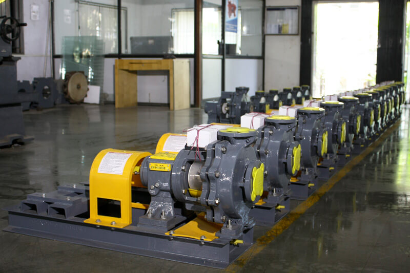 Line of pumps at pump manufacturing factory at Valsad