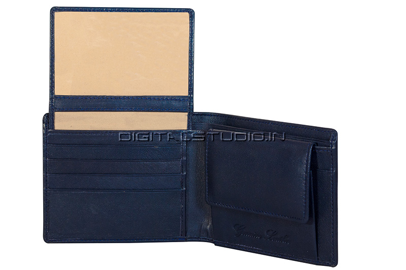 Pure leather blue wallet