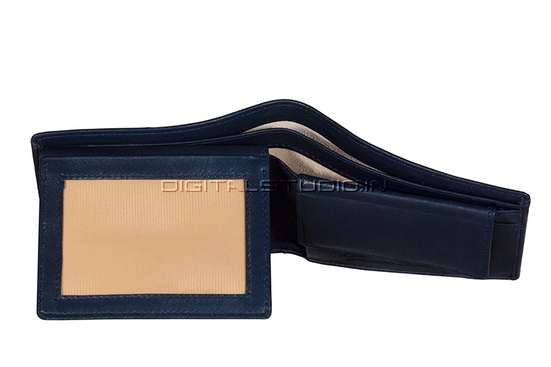 Credit card window section of a leather wallet
