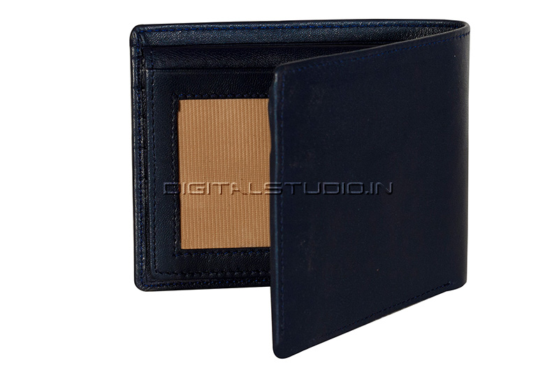 Half open blue leather wallet