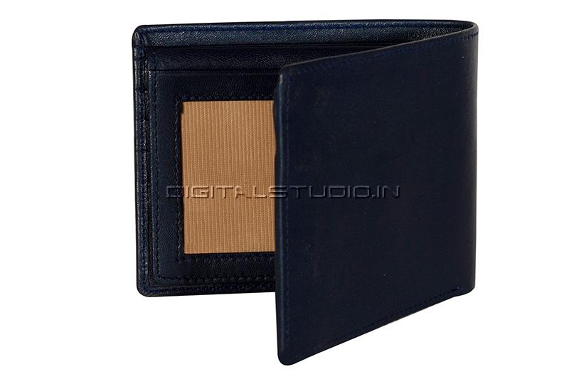 Half open blue leather wallet