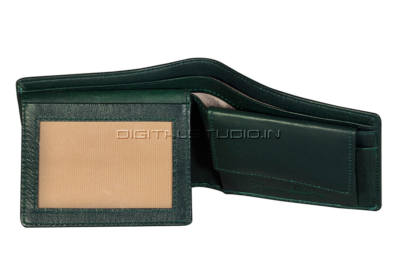 Credit card window section of a green leather wallet