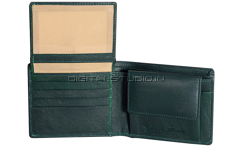 Inside of a green leather wallet