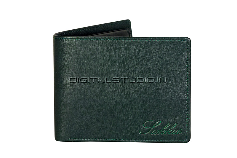 Front of green leather wallet