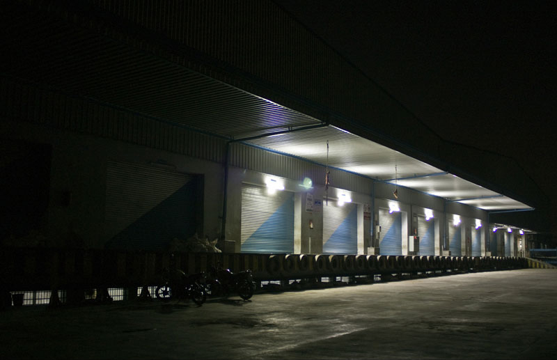 Night photograph of a warehouse