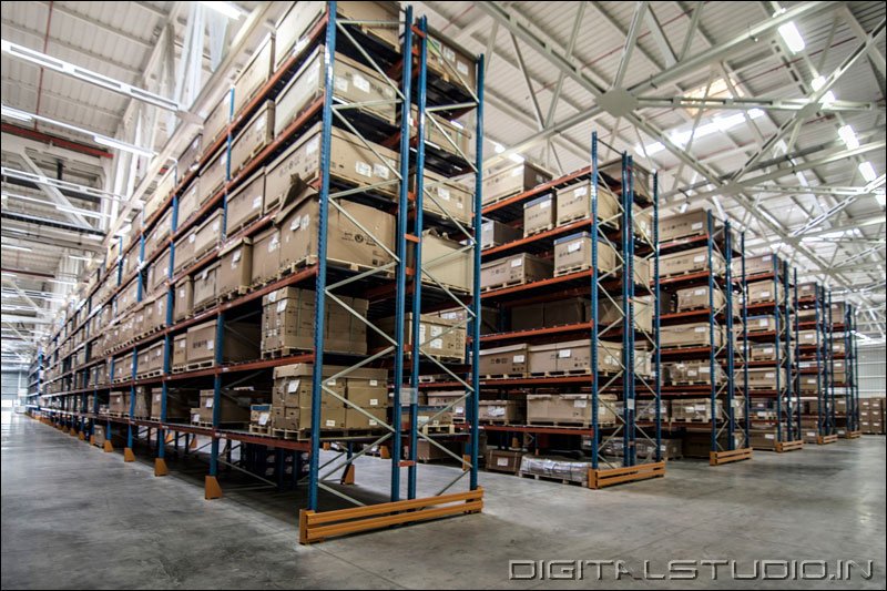 Wide angle shot of a warehouse