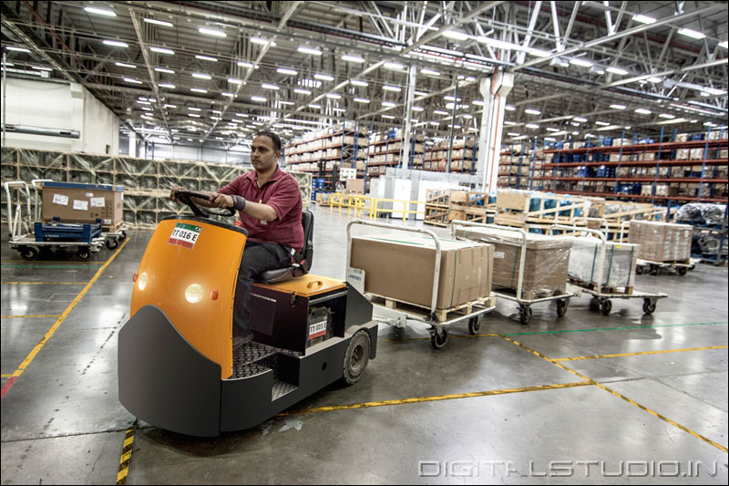 Trolley operator in a warehouse