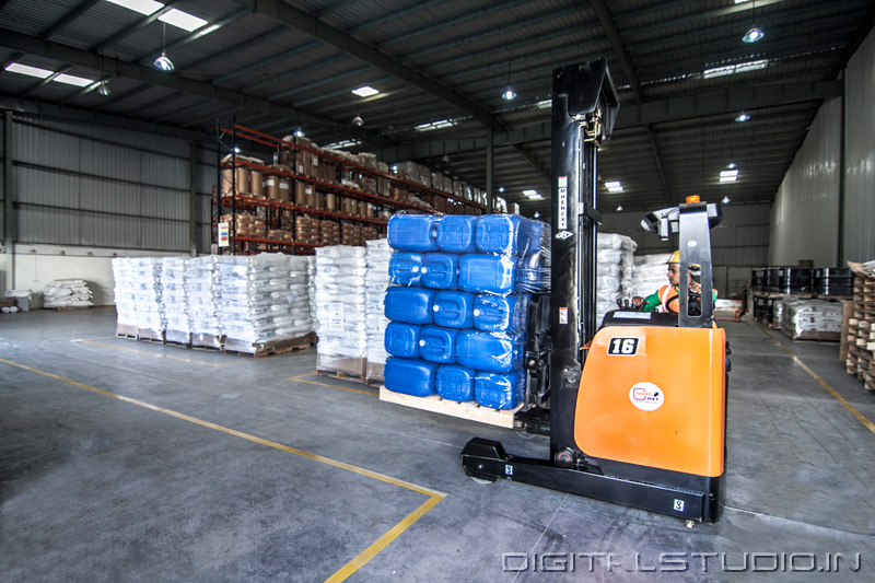 Fork lift in a ware house