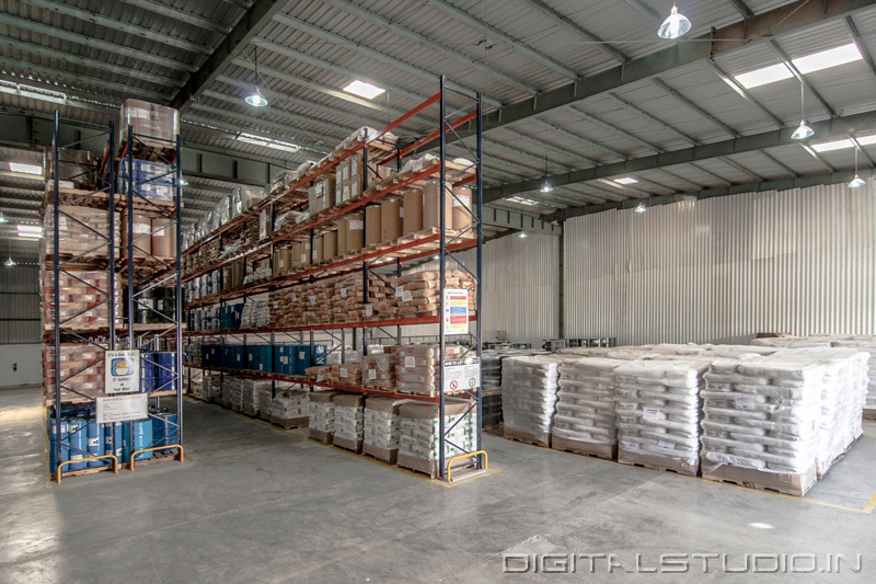 Wide angle photograph of a warehouse