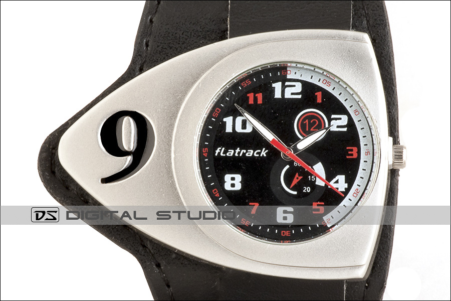 gents watch with black leather strap