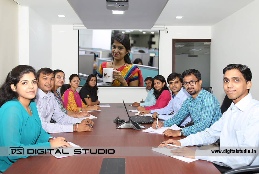 Meeting in corporate conference room