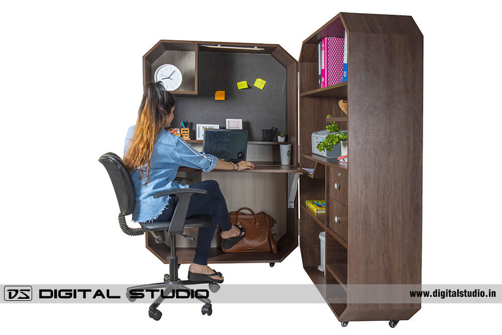 model working on work from home cabinet