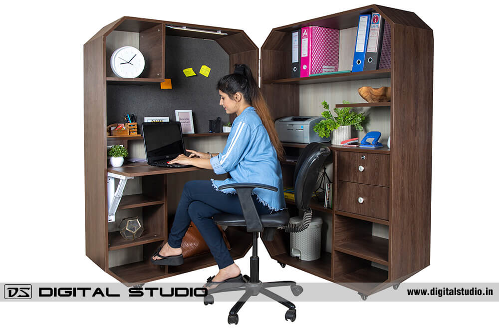 Young model working on workstation