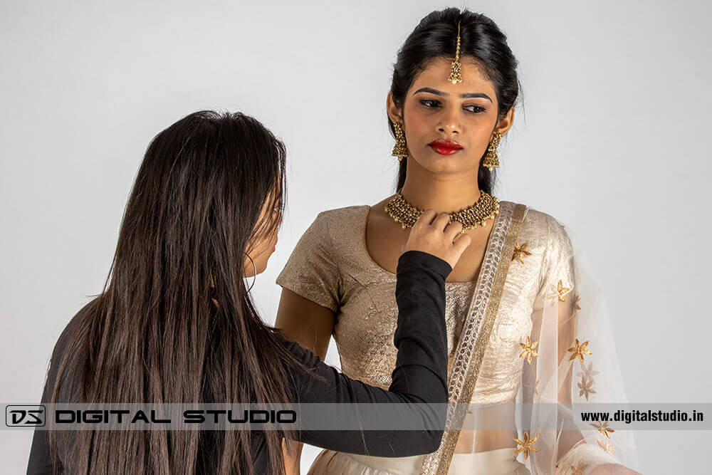 Jewellery model getting ready for the shoot