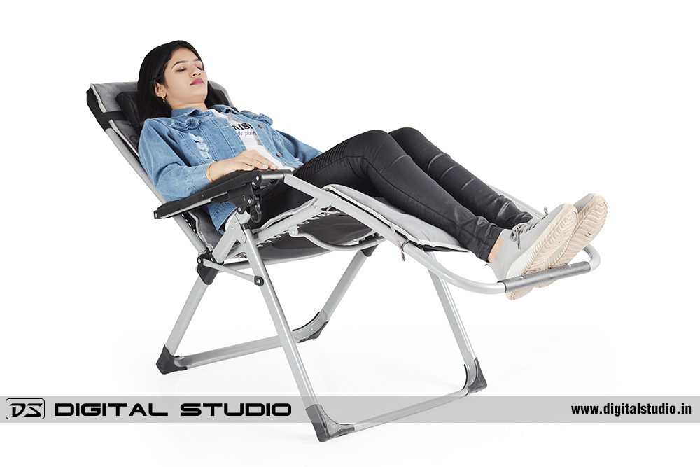 Garden recliner chair with female model