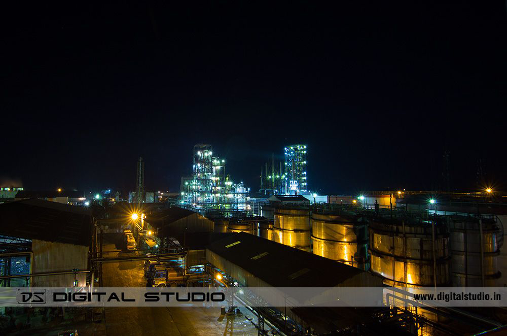 Wide angle night photography of Himadri Speciality Chemical Ltd at Hooghly