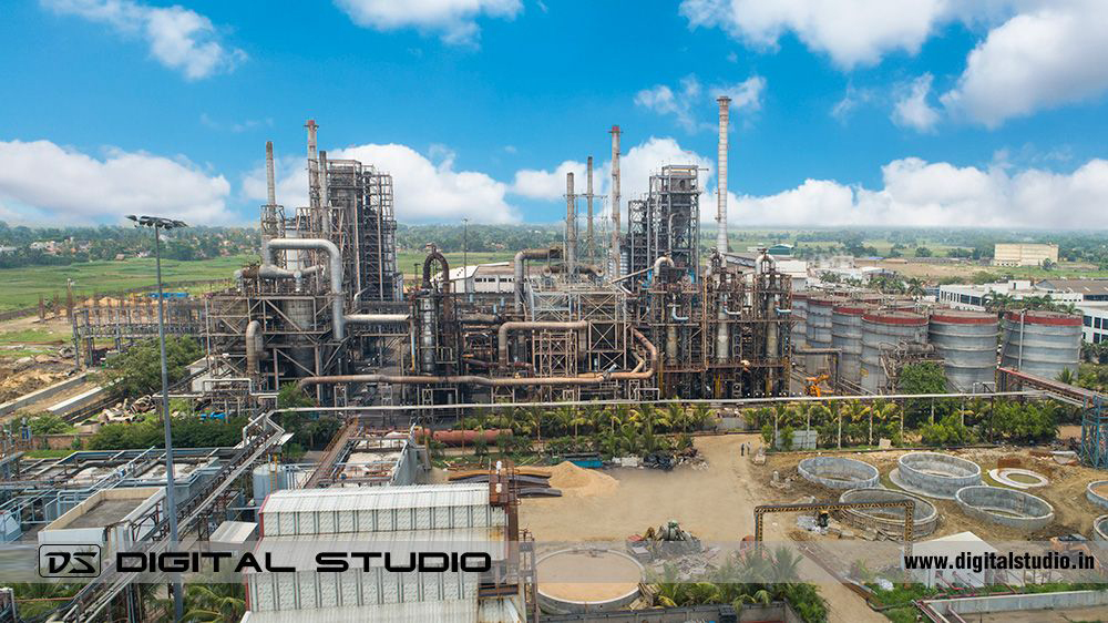 Profile shot of the chemical processing plant