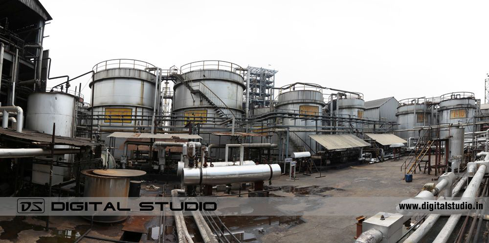 Panorama of chemicals storage tanks at Himadri - Hooghly plant