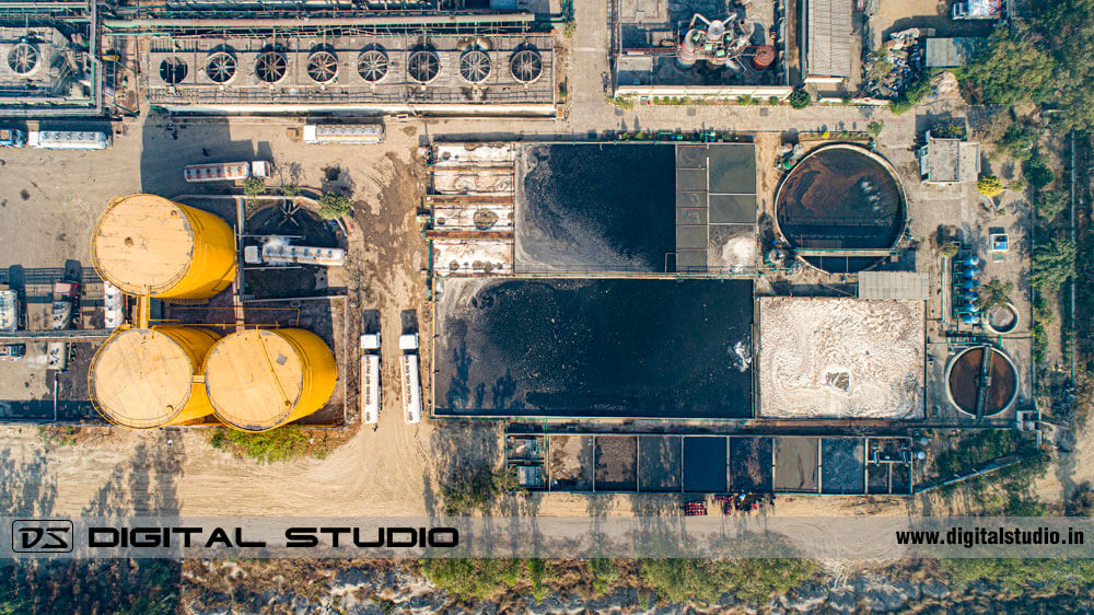 Aerial photograph with drone of a chemical processing plant