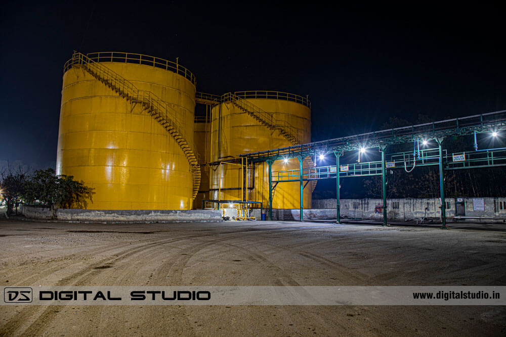 Outside of a factory in night