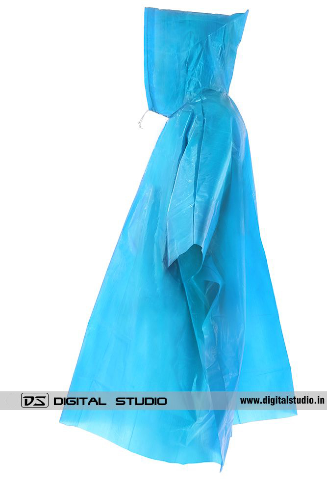 Blue rain poncho side view