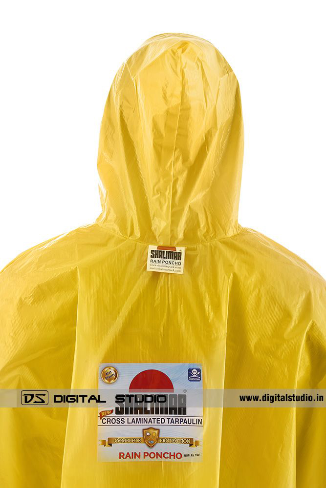 Close-up of yellow rain poncho