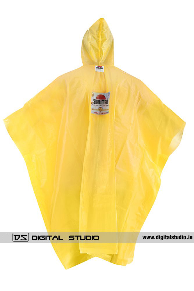 Yellow rain poncho back view